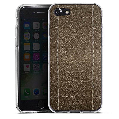 Apple iPhone X Silikon Hülle Case Schutzhülle Braunes Leder Look Lederstruktur Silikon Case transparent