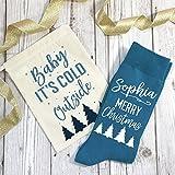 Personalizado Calcetines Navidad en una bolsa de regalo bebé hace frío fuera