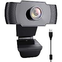 Webcam 1080P HD mit Mikrofon USB Kamera Fixfokus Lichtkorrektur für PC Mac Laptop für Streaming, Konferenzen, Online…
