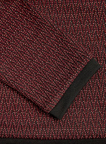 oodji Ultra Damen Jacquard-Pullover mit Zickzackmuster Rot (4929G)