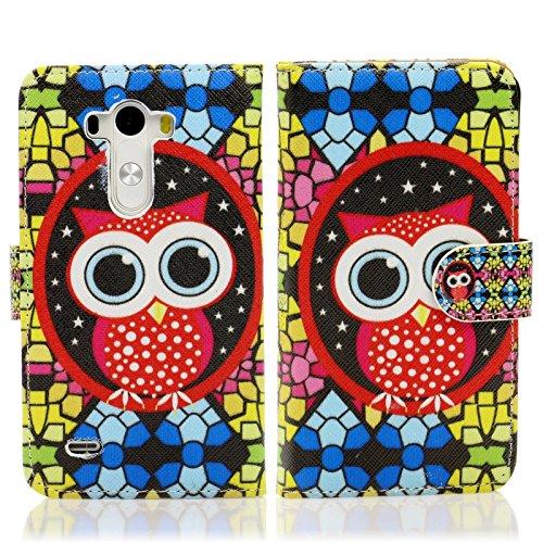 Handy Lux® Schutz Hülle Tasche Kartenfächer Flip Case Etui Cover Involto Motiv Design Hülle BookStyle LG G3 s / mini Mosaik Eule