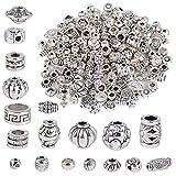 JNCH Ca. 100g Zwischenperlen Metall Metallperlen Perlenkappen Perlen für Armbänder zum Basteln Bastelperlen Set mit Loch zum Auffädeln Schmuckzubehör (Stil D)