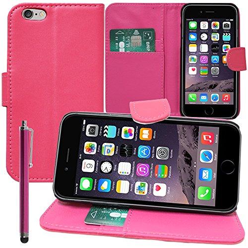 VCOMP® PU-Leder Handy Brieftasche mit Kartenfächer und Video-Standfunktion für Apple iPhone 6 Plus/ 6s Plus - WEISS PINK + Großer Eingabestift