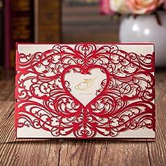 Idea Regalo - VStoy Laser rosso, biglietti di inviti da matrimonio, fidanzamento a forma di cuore con fiori, biglietti di invito per feste con busta, motivo: with VStoy e Seas-Bridal Shower Baby Shower-Wedding Favors 20 pezzi (rosso)