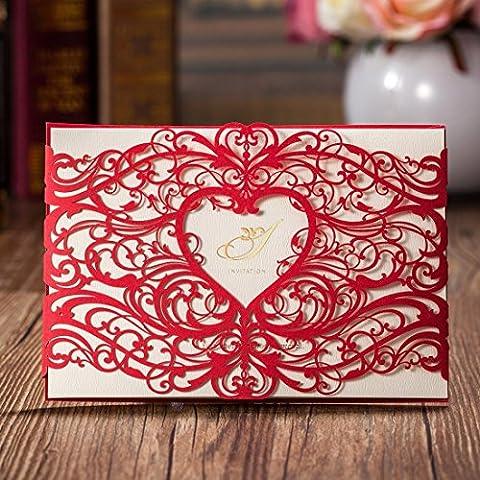 vstoy Coupe Laser Rouge de mariage Invitations Cartes de Fiançailles Coeur creux Fleurs Fête d'anniversaire cartes d'invitation withvstoy Enveloppe et Seas mariée mariage douche bébé douche cadeaux