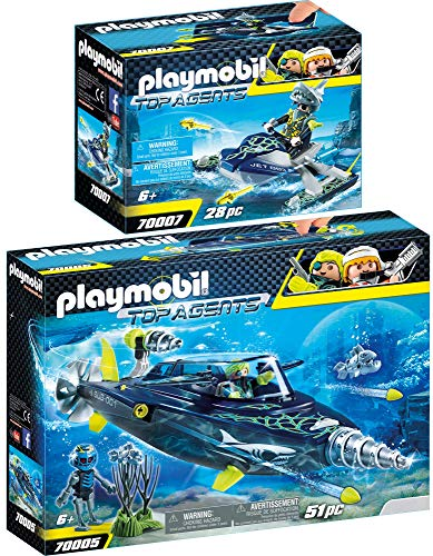 PLAYMOBIL® Top Agents 2er Set 70005 70007 Team S.H.A.R.K. Drill Destroyer + Rocket Rafter