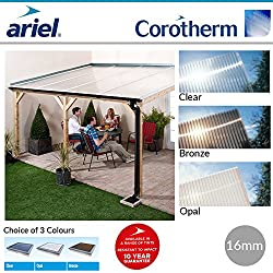 Polycarbonate Roofing Sheets | Lean-To Roofs | Carports | Ariel Corotherm | 16mm (3m x 700mm, Bronze)