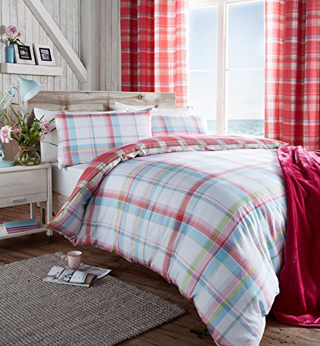 catherine-lansfield-st-ives-comprobar-cama-doble-rosa-colcha-cama-doble-king