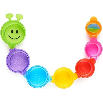 Munchkin Caterpillar Spillers Bath Toy, 7 Stacking Cups, Multi-Colour