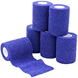 YuMai 6 Pack 7.5cm X 4.5m Self Adherent Cohesive Wrap Bandages Flexible Stretch Athletic Tape with Strong Elastic for Medical Sport Pet Supply - Dark Blue