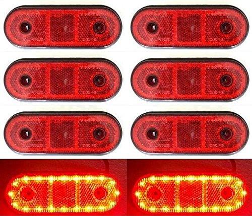 8x 20LED 12V 24V posteriore rosso luci di ingombro Telaio rimorchio roulotte camion pianale (Centro Telaio Di Montaggio)