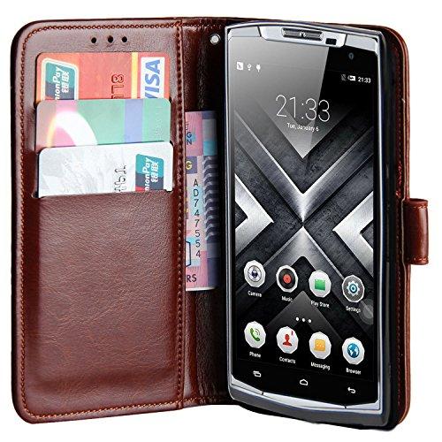 Raiphy Leder Brieftasche Hülle für Oukitel K10000 Pro,Telefon schützender lederner Fall mit Einem Einbauschlitz und Standfunktion (Braun)