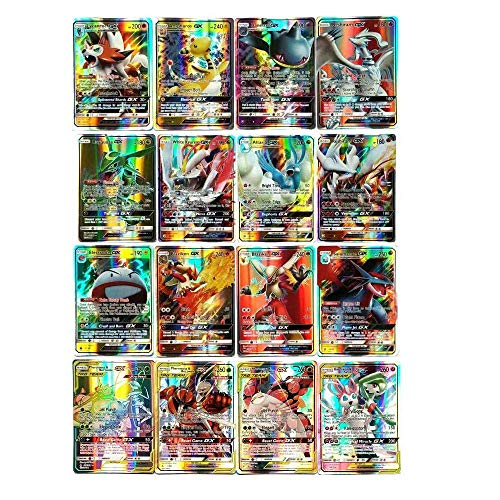 zhybac Pokemon Card, Pokemon Flash Card, Pokemon Card, Carte Enfants,60 Cartes Full GX, 60 Cartes Full Mega (60PCS GX)