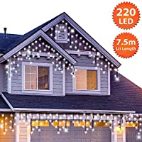 ANSIO Outdoor Christmas Icicle Lights 220 LED 7.5m/24ft Lit Length Bright/Cool White LED Fairy Lights Indoor/Outdoor Timer, Memory, Mains Powered 10m Lead Wire - Green Cable A+++ Energy Rating