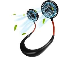 Maxesla Portable Neck Fan, Handsfree Mini USB Portable Fan, 360°Rotation, Rechargeable Personal Fan Wearable Necklace with Du