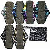 7pcs Set 1pc Mini Wet Bag +6pcs 10 Inch Regular Charcoal Bamboo Mama Cloth/ Menstrual Pads/ Reusable Sanitary Pads (Black)