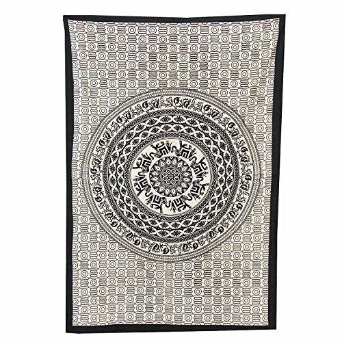 Handicrunch Indischer Mandala Wandbehang / Überwurf von uberdelic - 210 x 140 cm, 'LOL' - Block Bedruckten Baumwollbettlaken