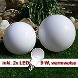 LED Kugellampe, 30cm+40cm Set Kugelleuchte incl. 9 Watt LED Leuchtmittel E27, warmweiss Gartenkugel Leuchtkugel für Aussen Kugellampen Set für den Garten