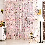Frühlings Blumenmuster Voile Transparenter Wohnzimmer Dekorative Fenster Tür Vorhänge Rosa