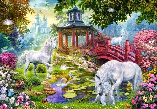 Unbekannt Mini - Puzzle 120 Teile - Einhorn Motiv - Castorland Einhörner Kinder Kinderpuzzle Minipuzzles - Mitgebsel / Preis für Kindergeburtstag - Mädchen