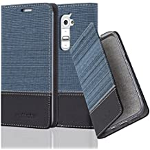 LG G2 Funda Estilo Libro en AZUL OSCURO NEGRO de Cadorabo (Diseño TELO-CUERO-ARTIFICIAL) – Cubierta Protectora con Cierre Magnético, Tarjetero y Función de Suporte – Protección Carcasa Caja Etui Case Cover