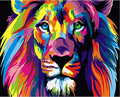 MBYWQ Digitale Malerei Bild Bunte Löwen Tiere Abstrakt Gemalt DIY DigitaleModerneWandkunstBild Für Wohnkultur, 40X50 cm, A(Ohne Rahmen)