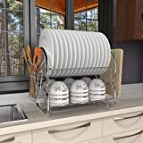 Oplon Küche Abtropfgestell mit 2 Etagen Abtropfständer Abtropfgitter Geschirrabtropfer Geschirrständer für Besteck, platzsparende Geschirrablage aus rostfreier Edelstahl und Kunststoff, 44x25x38cm - Silber