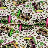 Baumwolljersey Hippie Bus neon Kinderstoffe Modestoffe -
