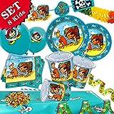 PIT PLANKE-der PIRAT Geburtstag-Deko-Set, 49-teilig zum Kindergeburtstag Junge und Mädchen und Piraten-Mottoparty-Party für 8 Kids