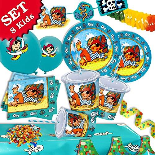 (PIT PLANKE-der PIRAT Geburtstag-Deko-Set, 49-teilig zum Kindergeburtstag Junge und Mädchen und Piraten-Mottoparty-Party für 8 Kids)