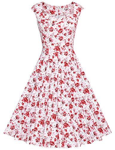 MUXXN Rétro robe de soirée de cocktail de années 1950 de femme du style d'Audrey Hepburn Red flower Floral