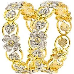 Jewels Galaxy Sparkling Floral Design American Diamond Bangles (2.4)