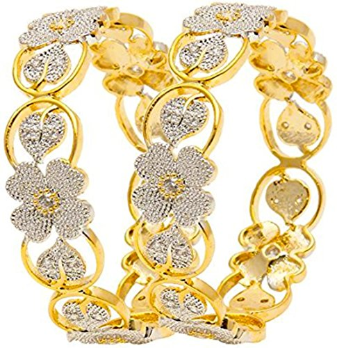 Jewels Galaxy Sparkling Floral Design American Diamond Bangles (2.4)