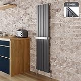 1600 x 376 mm Flat Panel Vertical Radiator Heating Single Towel Bar Bathroom Designer Heater