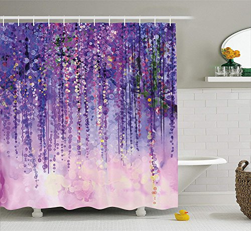 AdaCrazy Floral Ivy Blüten von Baum neblig lebhaften trüben Lebensraum Kunstwerk Aquarell Blume Home Decor Duschvorhang Stoff Badezimmer Dekor Set mit Haken lila - Duschvorhang Lila