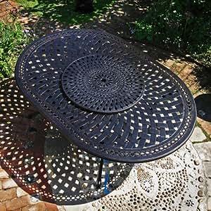 Salon de jardin alu style fer forg table ronde rosemary for Salon de jardin anglais