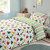 Dreamscene Kids Duvet Cover Pillowcase Bedding Set Boys Girls Dinosaur Reversible Stripe - Single