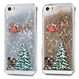 iPhone SE Case,iphone 5S Case,iPhone 5 Case, Badalink 2-Pack Christmas Liquid Glitter Case Quicksand Sparkle Diamond Running Glitter Flowing Floating Bling Hard Cover Slim Fit Protective Case Xmas Santa Claus Case,Silver & Gold