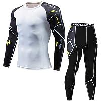 FRAUIT Palestra Completi Sportivi da Uomo Leggins Palestra Compressione + Maglie Pantaloni Elegante Slim Fit Tight…