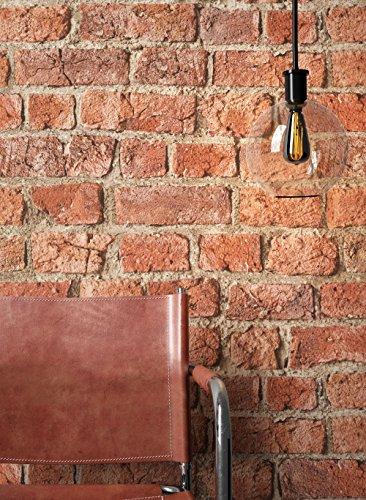 NEWROOM Steintapete Tapete Rot Mauer Stein Modern Papiertapete Braun Papier moderne Design 3D Optik Steintapete Ziegelstein Backstein Mauerwerk Klinker Loft inkl. Tapezier Ratgeber