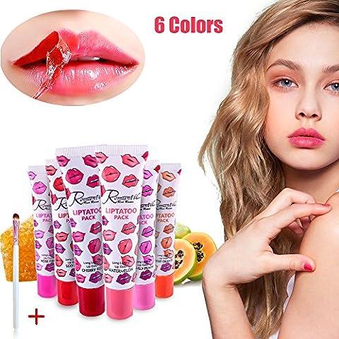 Peel off Lipgloss 6 Farben Tätowierung Magisch Farbe Lippenstift Lip