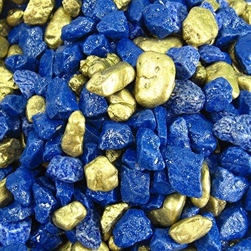2 kg Dekokies Dekogranulat Dekosplitt Zierkies Streudeko (Blau-Gold)