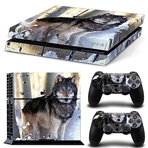 DOTBUY PS4 Skin Aufkleber Sticker Design Folie schützende Haut Schale für Sony Playstation 4 Konsole und 2 Dualshock Controller (Animal Wolf)