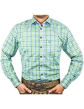 Lekra Trachtenhemd Alex - Grün Blau - Tolles Hemd für Herren zur Lederhose