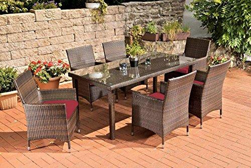 Gartenmöbel, Gartenmöbel-Set, Sitzgarnitur Florenz, rubin-rot / braun-meliert, Polyrattan-Aluminium-Gestell, Gartengarnitur, Sitzgruppe