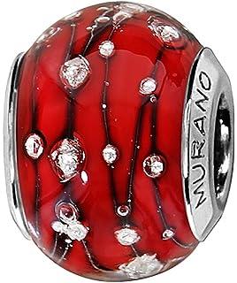 Thabora Charm Femme Argent rhodi/é et Verre de Murano C05023 Rose