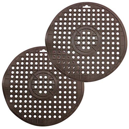 COM-FOUR® 2x Spühlbeckenmatte rund in braun, Spühlmatte schützt die Oberfläche der Spühle und das Geschirr, Ø 32 cm (braun - 2 Stück)