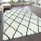 Paco Home Hochflor Teppich Kuschelig Modern Shaggy Flokati Stil Rauten Muster Creme, Grösse:120x160 cm
