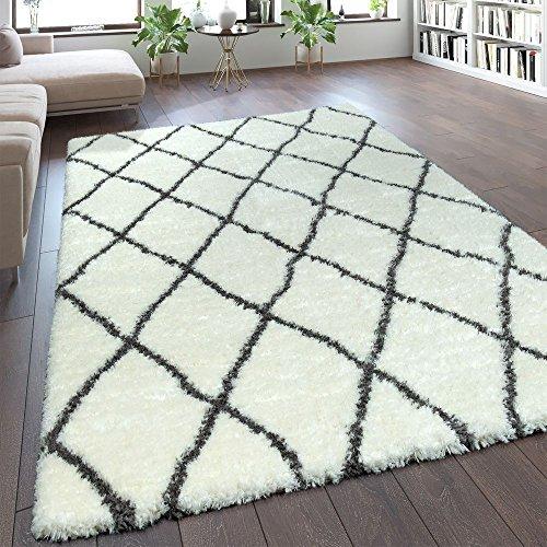 Weiße Flokati-teppiche (Paco Home Teppich Wohnzimmer Creme Weiß Weich Groß Shaggy Flokati Rauten Muster Hochflor, Grösse:80x150 cm)