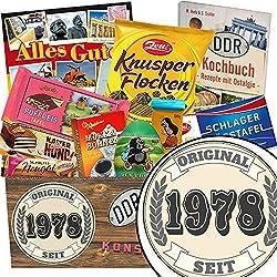 Original seit 1978 | Schokoladen Paket | Geschenke Set | Original seit 1978 | Schokoladen Korb | Geschenke zum 40 Geburtstag Mann lustig | INKL DDR Kochbuch